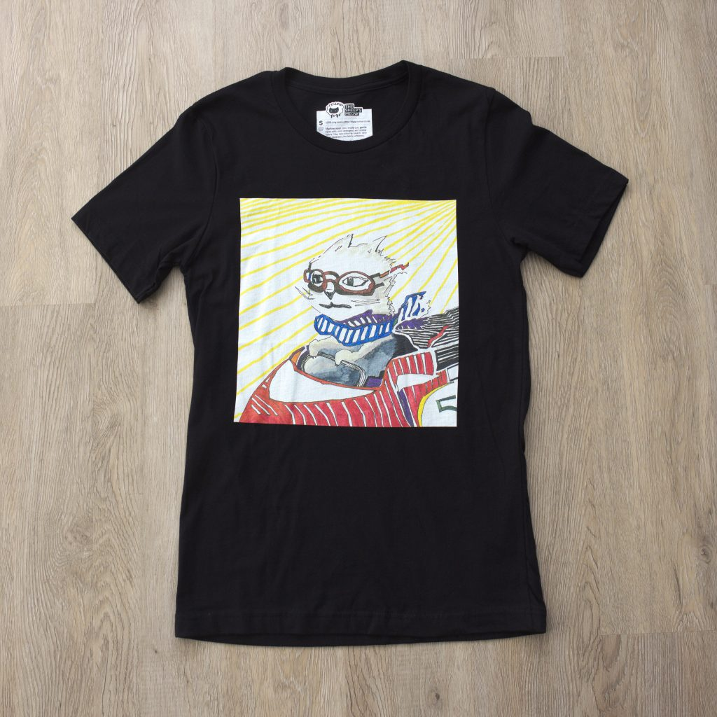 Photograph of Racecar Cat T-Shirt.
