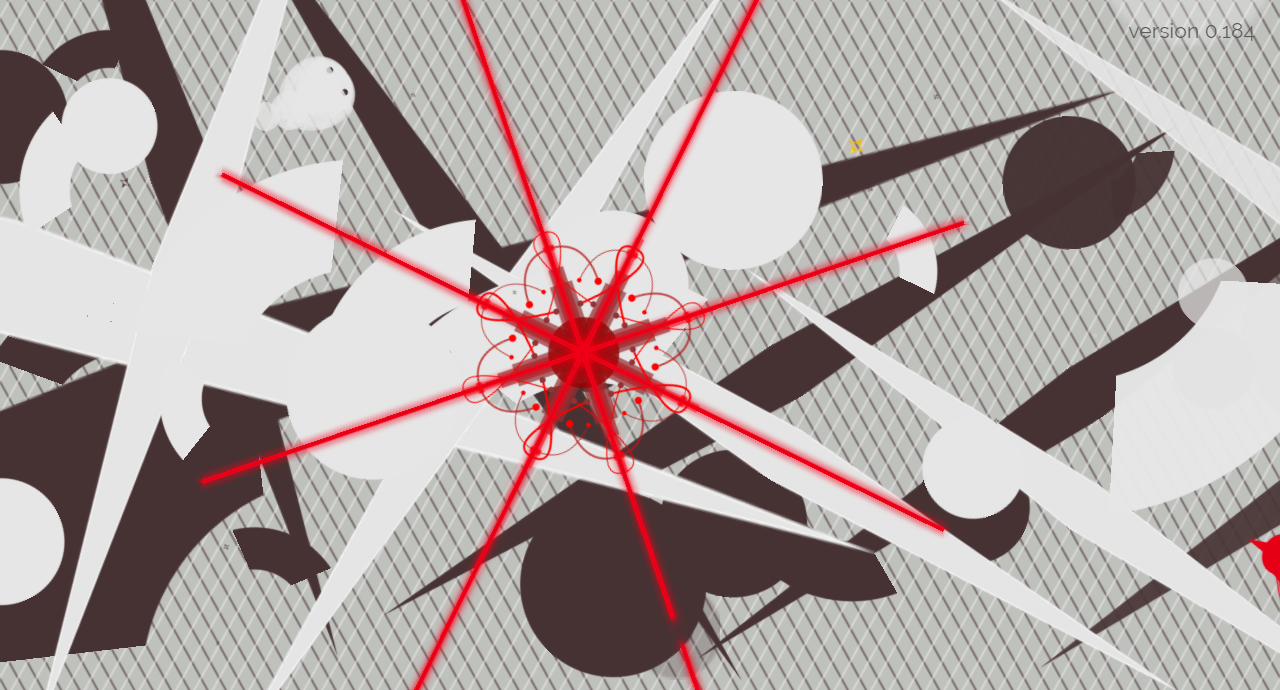 Screenshot of EXPOSURE, a game of camouflage. This is the second boss that appears in the game. This level is Synthesis.